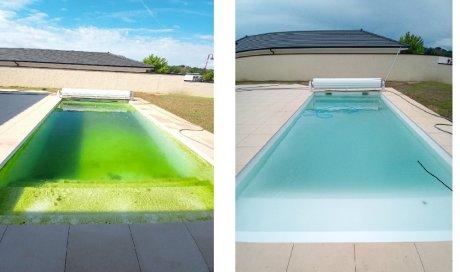 Une piscine qui resemble à une mare à 9 heures.